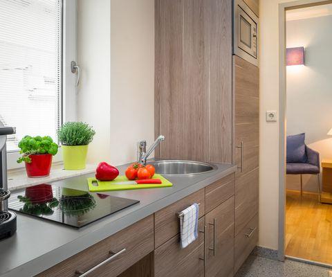 Küche - Studio Family im Appartement-Hotel an der Riemergasse